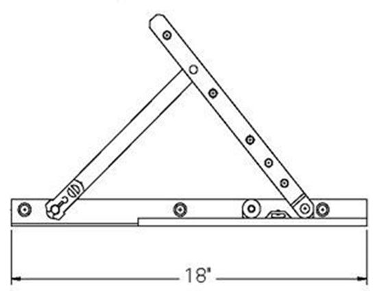 """Picture of ADJUSTABLE HINGE AND 18"""" TRACK SA109"""